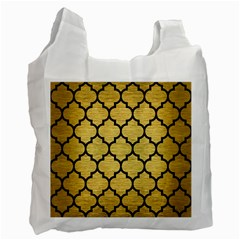 Tile1 Black Marble & Gold Brushed Metal (r) Recycle Bag (two Side)