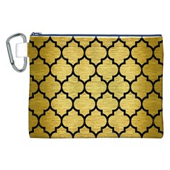 Tile1 Black Marble & Gold Brushed Metal (r) Canvas Cosmetic Bag (xxl)
