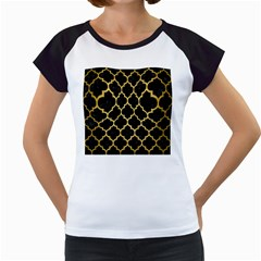 Tile1 Black Marble & Gold Brushed Metal Women s Cap Sleeve T