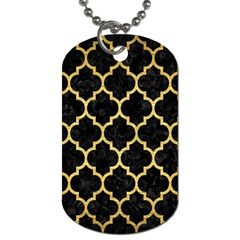 Tile1 Black Marble & Gold Brushed Metal Dog Tag (two Sides)