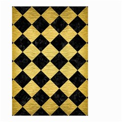 Square2 Black Marble & Gold Brushed Metal Small Garden Flag (two Sides)