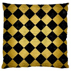Square2 Black Marble & Gold Brushed Metal Standard Flano Cushion Case (one Side)