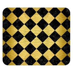 Square2 Black Marble & Gold Brushed Metal Double Sided Flano Blanket (small)