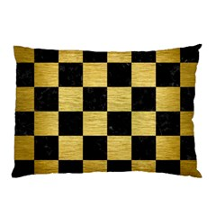 Square1 Black Marble & Gold Brushed Metal Pillow Case