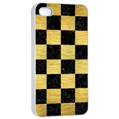 Square1 Black Marble & Gold Brushed Metal Apple Iphone 4/4s Seamless Case (white)