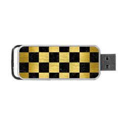 Square1 Black Marble & Gold Brushed Metal Portable Usb Flash (two Sides)
