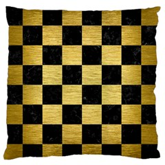Square1 Black Marble & Gold Brushed Metal Large Flano Cushion Case (one Side)