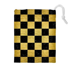 SQR1 BK MARBLE GOLD Drawstring Pouches (Extra Large)