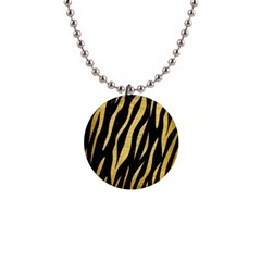 Skin3 Black Marble & Gold Brushed Metal 1  Button Necklace