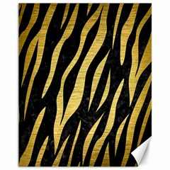Skin3 Black Marble & Gold Brushed Metal Canvas 11  X 14