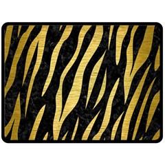 Skin3 Black Marble & Gold Brushed Metal Fleece Blanket (large)
