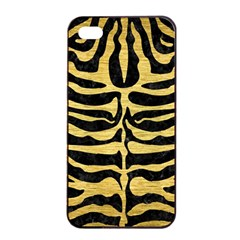 Skin2 Black Marble & Gold Brushed Metal Apple Iphone 4/4s Seamless Case (black)