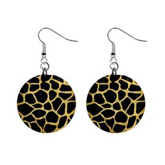 Skin1 Black Marble & Gold Brushed Metal (r) 1  Button Earrings