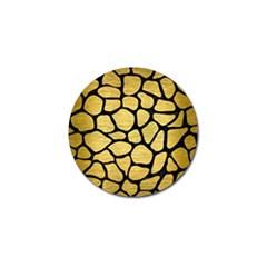 Skin1 Black Marble & Gold Brushed Metal Golf Ball Marker (4 Pack)