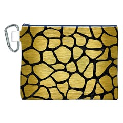 Skin1 Black Marble & Gold Brushed Metal Canvas Cosmetic Bag (xxl)