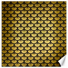 Scales3 Black Marble & Gold Brushed Metal (r) Canvas 16  X 16
