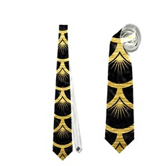 Scales3 Black Marble & Gold Brushed Metal Necktie (one Side)