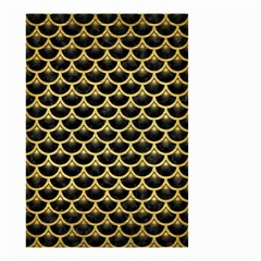 Scales3 Black Marble & Gold Brushed Metal Small Garden Flag (two Sides)