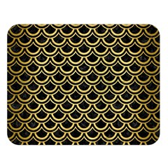 Scales2 Black Marble & Gold Brushed Metal Double Sided Flano Blanket (large)