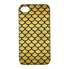 Scales1 Black Marble & Gold Brushed Metal (r) Apple Iphone 4/4s Hardshell Case With Stand