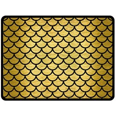Scales1 Black Marble & Gold Brushed Metal (r) Double Sided Fleece Blanket (large)