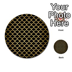 Scales1 Black Marble & Gold Brushed Metal Multi Purpose Cards (round)