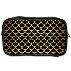 Scales1 Black Marble & Gold Brushed Metal Toiletries Bag (one Side)