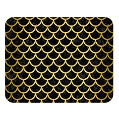Scales1 Black Marble & Gold Brushed Metal Double Sided Flano Blanket (large)