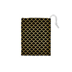 Scales1 Black Marble & Gold Brushed Metal Drawstring Pouch (xs)