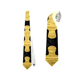 Puzzle1 Black Marble & Gold Brushed Metal Necktie (one Side)