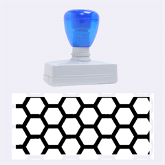 Hexagon2 Black Marble & Gold Brushed Metal (r) Rubber Stamp (large)
