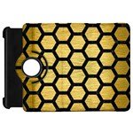 HEXAGON2 BLACK MARBLE & GOLD BRUSHED METAL (R) Kindle Fire HD Flip 360 Case Front