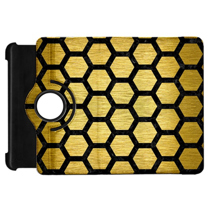 HEXAGON2 BLACK MARBLE & GOLD BRUSHED METAL (R) Kindle Fire HD Flip 360 Case