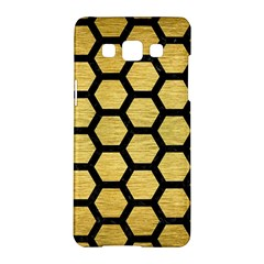 Hexagon2 Black Marble & Gold Brushed Metal (r) Samsung Galaxy A5 Hardshell Case