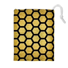 Hexagon2 Black Marble & Gold Brushed Metal (r) Drawstring Pouch (xl)