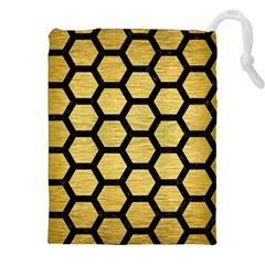 HXG2 BK MARBLE GOLD (R) Drawstring Pouches (XXL)