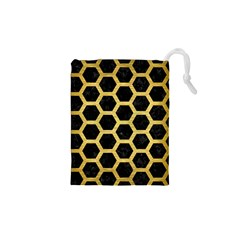 Hexagon2 Black Marble & Gold Brushed Metal Drawstring Pouch (xs)