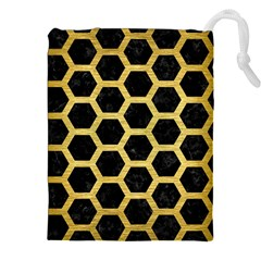 Hexagon2 Black Marble & Gold Brushed Metal Drawstring Pouch (xxl)