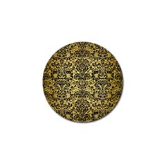 Damask2 Black Marble & Gold Brushed Metal (r) Golf Ball Marker (4 Pack)