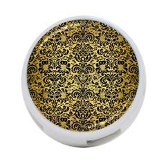 Damask2 Black Marble & Gold Brushed Metal (r) 4 Port Usb Hub (one Side)