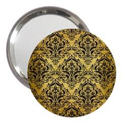 Damask1 Black Marble & Gold Brushed Metal (r) 3  Handbag Mirror
