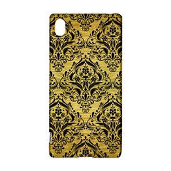 Damask1 Black Marble & Gold Brushed Metal (r) Sony Xperia Z3+ Hardshell Case