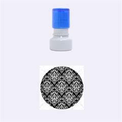 Damask1 Black Marble & Gold Brushed Metal Rubber Stamp Round (small)