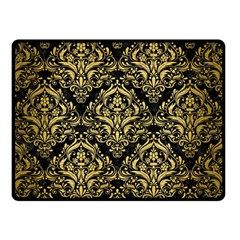 Damask1 Black Marble & Gold Brushed Metal Double Sided Fleece Blanket (small)