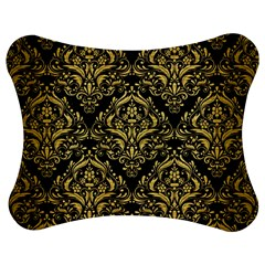 Damask1 Black Marble & Gold Brushed Metal Jigsaw Puzzle Photo Stand (bow)