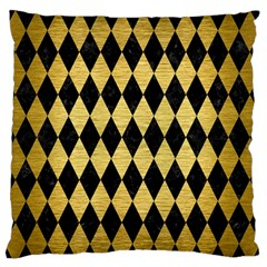 Diamond1 Black Marble & Gold Brushed Metal Standard Flano Cushion Case (one Side)
