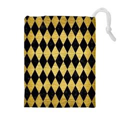 DIA1 BK MARBLE GOLD Drawstring Pouches (Extra Large)