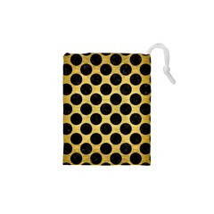 Circles2 Black Marble & Gold Brushed Metal (r) Drawstring Pouch (xs)