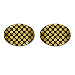 CIRCLES2 BLACK MARBLE & GOLD BRUSHED METAL Cufflinks (Oval) Front