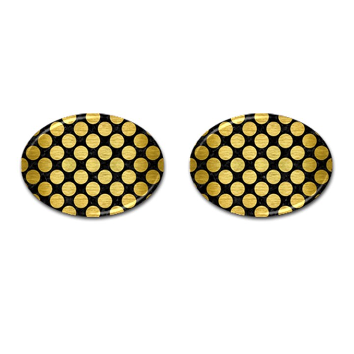 CIRCLES2 BLACK MARBLE & GOLD BRUSHED METAL Cufflinks (Oval)